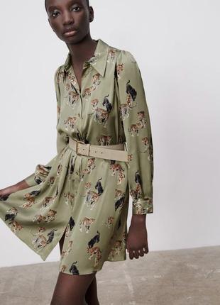 Платье сатин с поясом