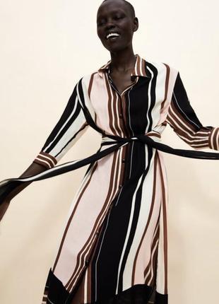 Платье-рубашка в полоску zara размер s