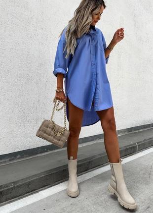 Платье рубашка женское нарядное летнее легкое летнее белое бежевое синее