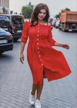 Красное миди платье халат на кнопках