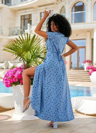 Женское платье в пол на запах в горошек