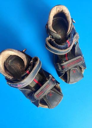 Детские сандалии на липучках для мальчика синие