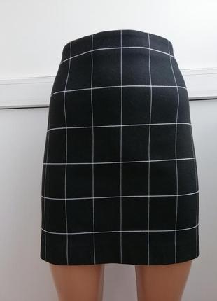 Юбка женская короткая мини чёрная в клеточку