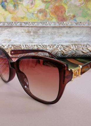 Брендовые коричневые солнцезащитные женские очки кошечки 2021