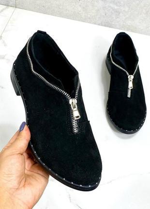 36-41 рр туфли, мокасины со змейкой черные низкий ход замша/кожа