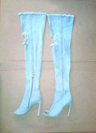 Ботфорты летние, летние сапоги, летние батильоны на высоком каблуке джинсовые с дырками на коленях