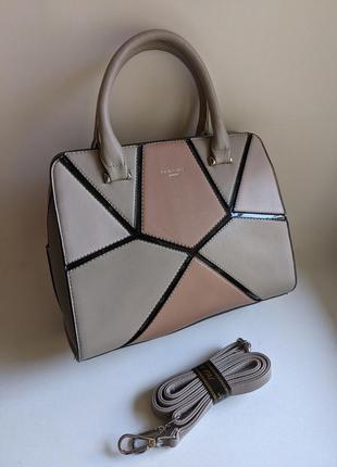 Стильная новая женская сумка серого цвета