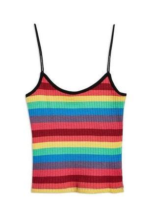 Разноцветный хлопковый радужный кроп топ майка topshop в рубчик на бретельках5 фото