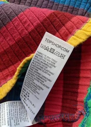 Разноцветный хлопковый радужный кроп топ майка topshop в рубчик на бретельках4 фото