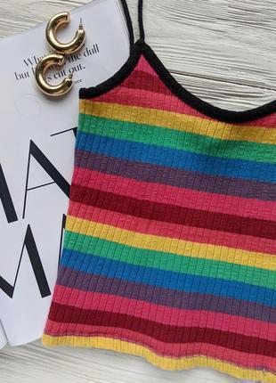 Разноцветный хлопковый радужный кроп топ майка topshop в рубчик на бретельках2 фото