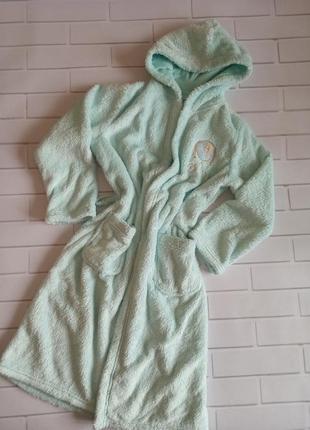 Детский халат махровый мятный, детский халат с капюшоном эльза