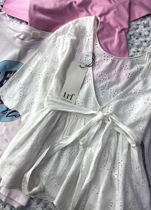 Хлопковая блуза, рубашка из прошвы zara