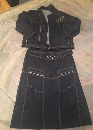 Стильный джинсовый костюм. наш 54-56