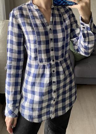 Удлиненная льняная рубашка в клетку marks&spencer