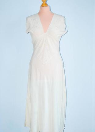 Шелковая длинная ночнушка ночная рубашка на широких шлейках