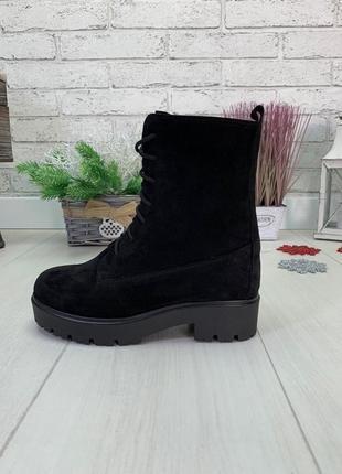 36-41 рр высокие ботинки на шнурках натуральная замша/кожа
