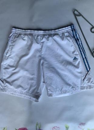 Мужские спортивные шорты белые adidas climalite с карманами сбоку размер xl