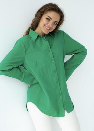 Женская зелёная хлопковая рубашка свободного кроя