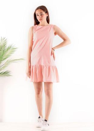 Платье женское легкое мини короткое летнее батал оверсайз свободное тонкое розовое