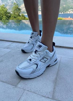 Женские кожаные кроссовки new balance 530 white/ grey, жіночі шкіряні кросівки