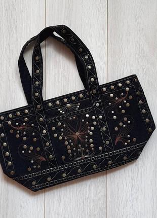 Вельвет сумка, сумочка вельветовая, заклепки, декор, вышивка