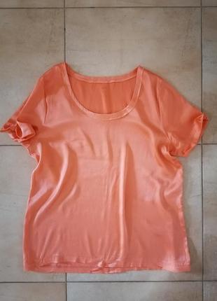 Яркая шёлковая блуза, натуральный шёлк, р. 48-50