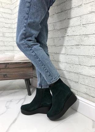 35-41 рр деми/зима ботинки зеленые , ботильоны невысокая танкетка натуральная замша/кожа