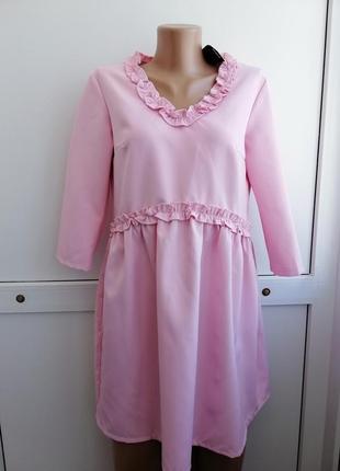Платье baby doll розовое короткое
