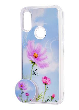 Чехол xiaomi redmi 6a с попсокетом цветы