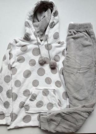 Очень теплая женская пижама с капюшоном и карманами, размеры xs, s, m, l, xl