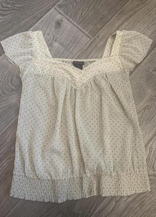 Легкая прозрачная блуза в горошек бежевая размер s