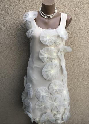 Шелк100%,платье вечернее,сарафан с цветами,аппликация,эксклюзив
