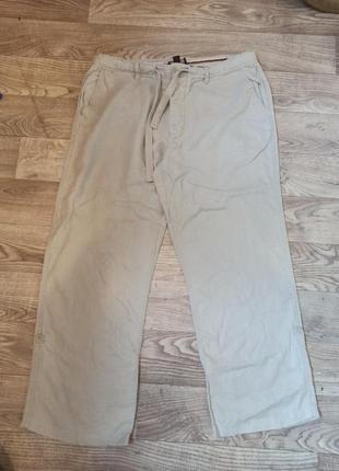 Льняные брендовые мужские брюки с подворотами р.38