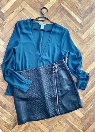 Женская юбка из искусственной кожи на замке h&m