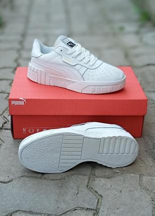 Женские кроссовки puma cali белые, кожаные