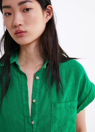 Льняная рубашка с карманом zara