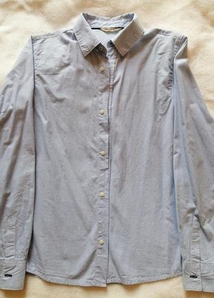 Лёгкая рубашка, нежно-голубого цвета в мелкую полоску