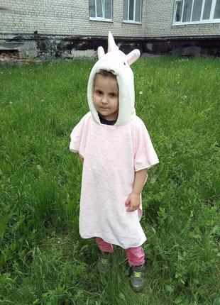 Полотенце уголок пончо детское розовый единорог