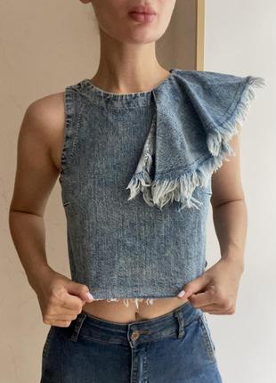 Ассиметричный джинсовый топ zara