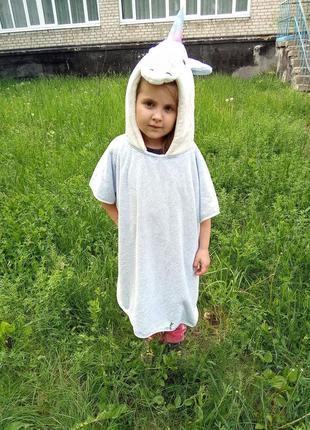 Полотенце пончо детское голубой единорог