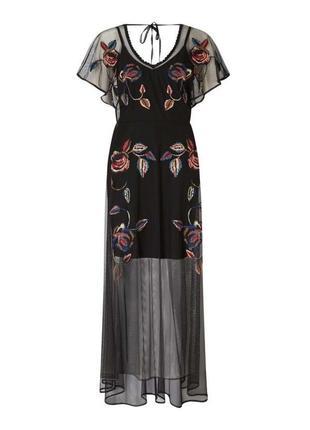 Шикарное платье с вышивкой платье сеточка сукня нарядное вечернее платье сетка