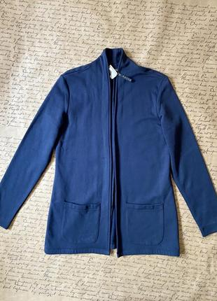 Тёплый блейзер кардиган накидка темно-синий в спортивном стиле