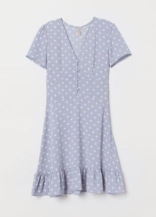 Платье в горошек платье с оборками и пуговицами платье горох сукня плаття h&m
