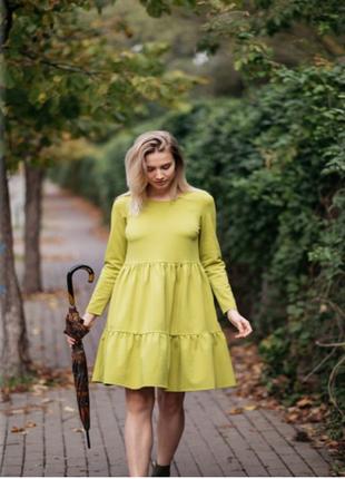 Стильное двухярусное платье с рукавом