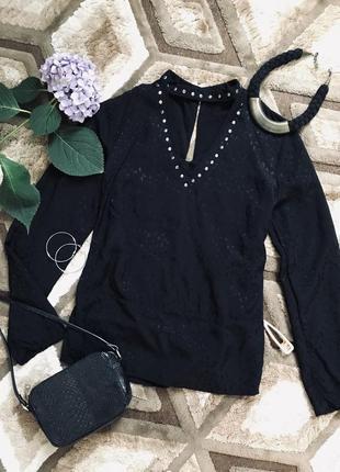 Черная блузка с вырезом блуза с длинным рукавом заклепки свободная натуральная блуза