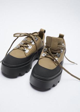 Туфли ботинки на грубой подошве со спортивной шнуровкой, zara,p. 42
