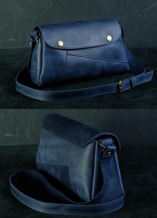 Женская сумка на плечо из натуральной кожи crazy horse синяя