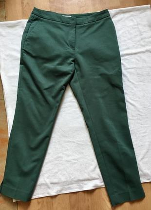 Изумрудные брюки классические зелёные 7/8 длина
