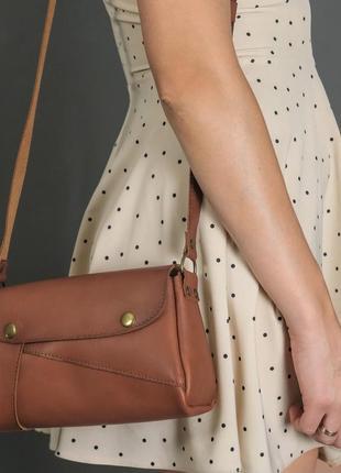 Женская сумка на плечо из натуральной кожи итальянский краст коричневая