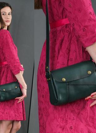 Женская сумка на плечо из натуральной кожи итальянский краст зеленая